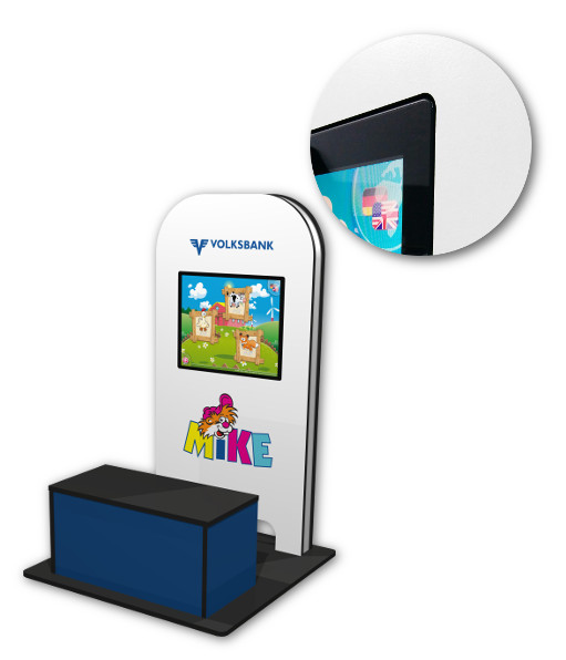 custom-made MyKidsCorner with bench for Volksbank Austria